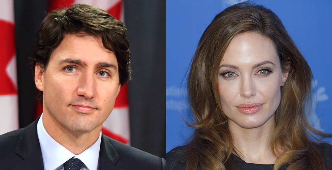 Justin trudeau and angelina jolie shutterstock