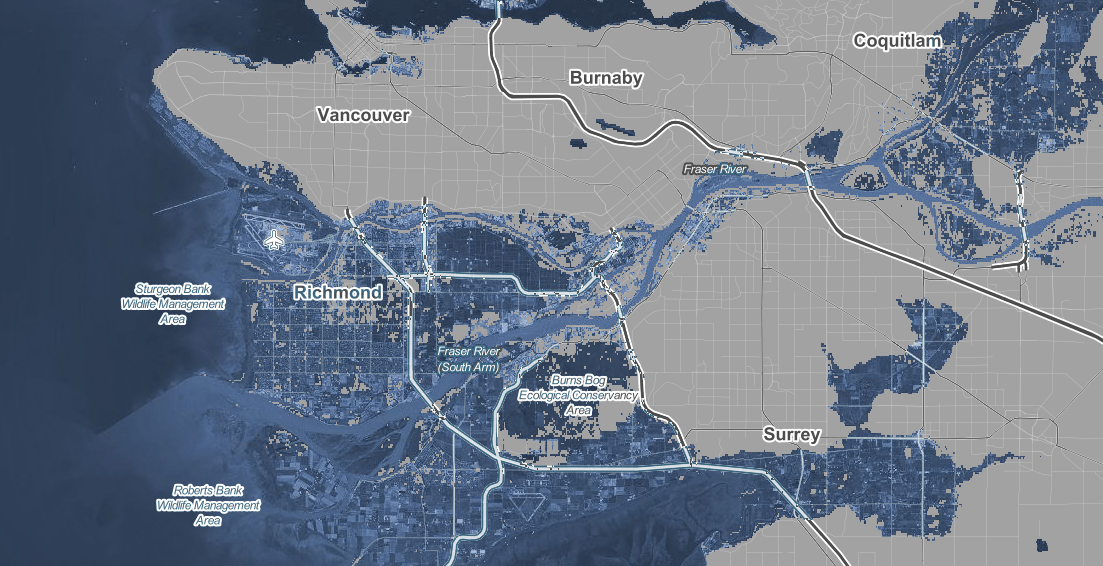Predicted flooding in Metro Vancouver in 2100 with a 1.5°C global temperature rise. (Climate Central)