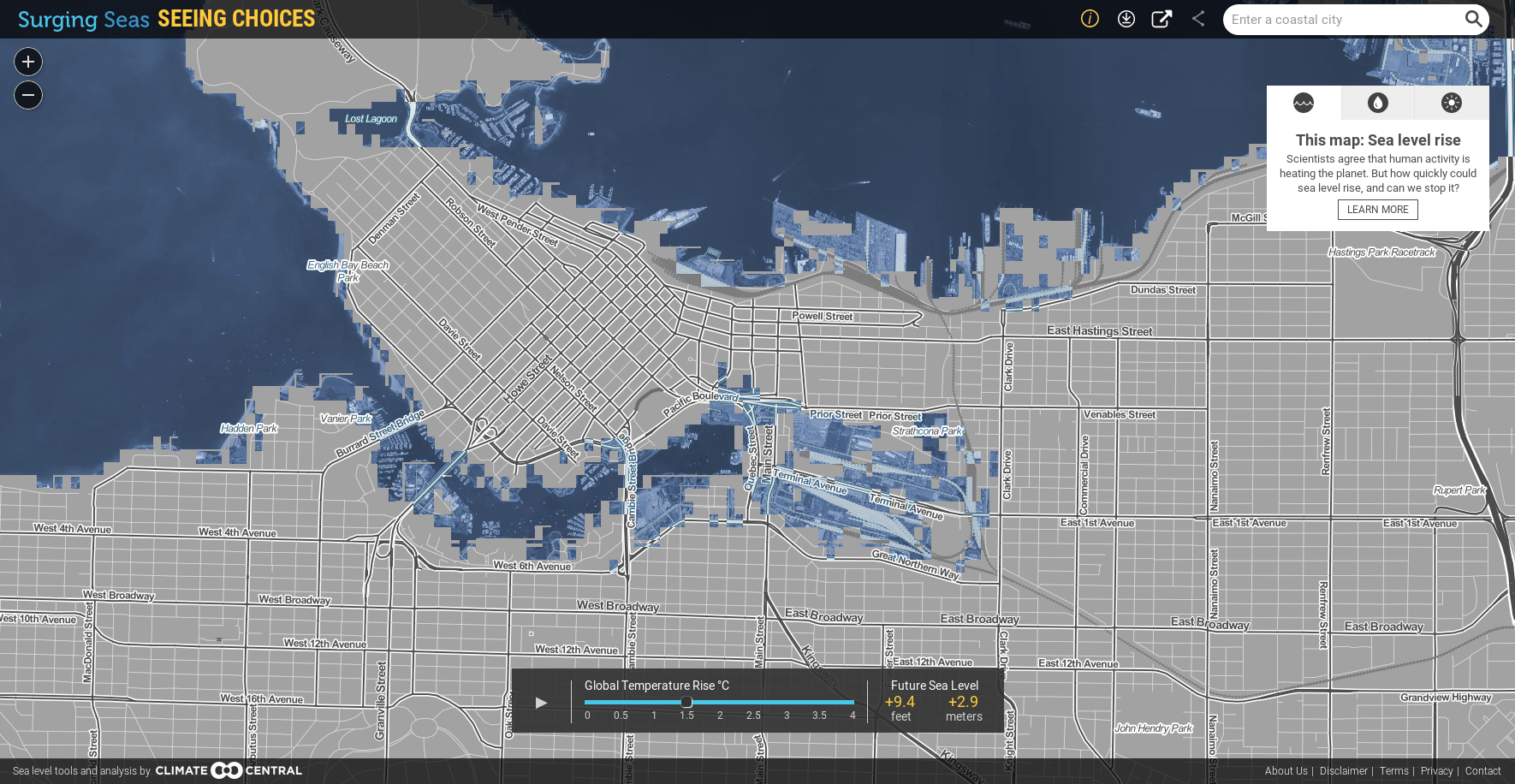 Predicted flooding in Vancouver in 2100 with a 1.5°C global temperature rise. (Climate Central)