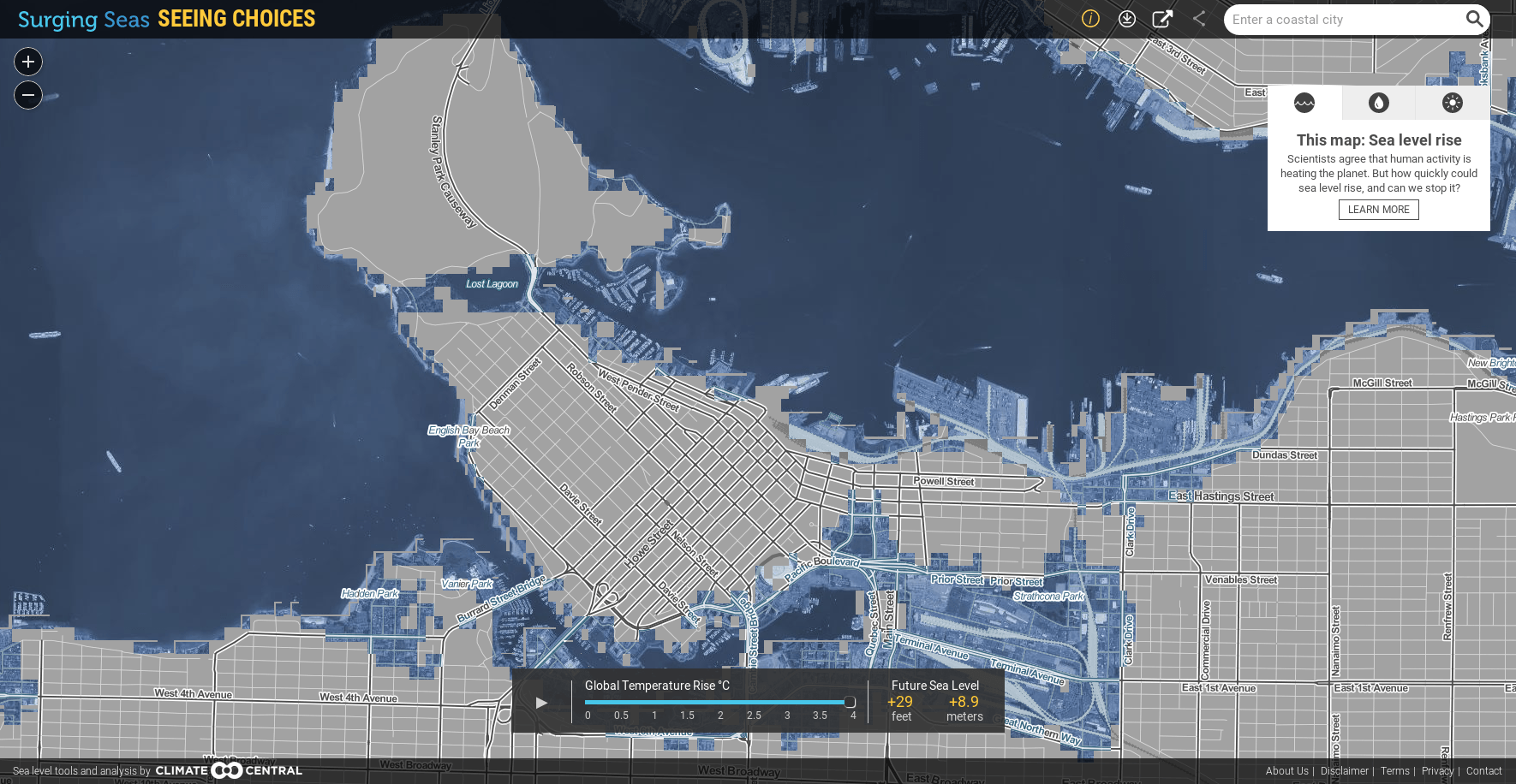 Predicted flooding in Vancouver in 2100 with a 4°C global temperature rise. (Climate Central)
