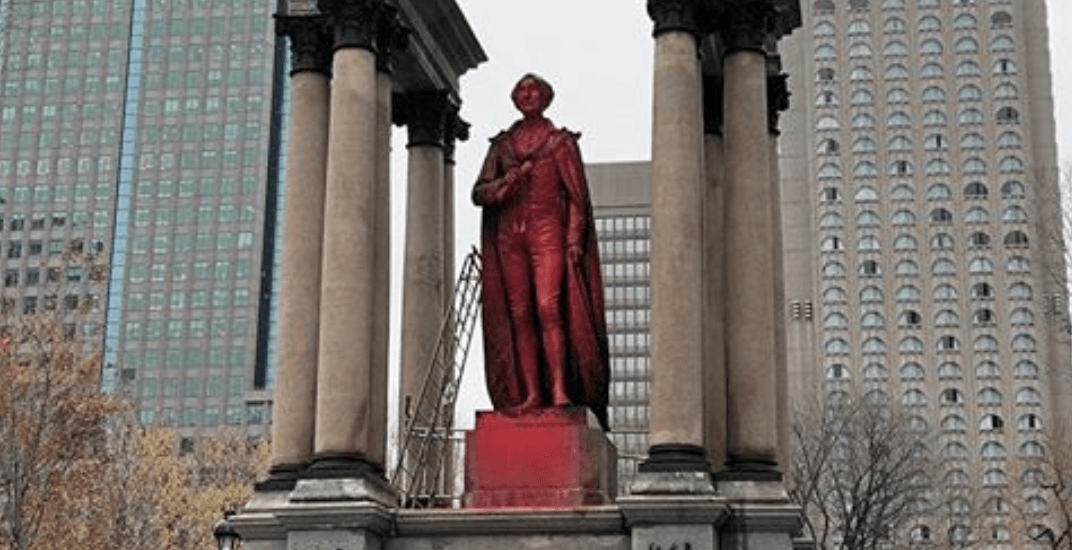 Anonymous protesters deface John A. Macdonald statue in Montreal