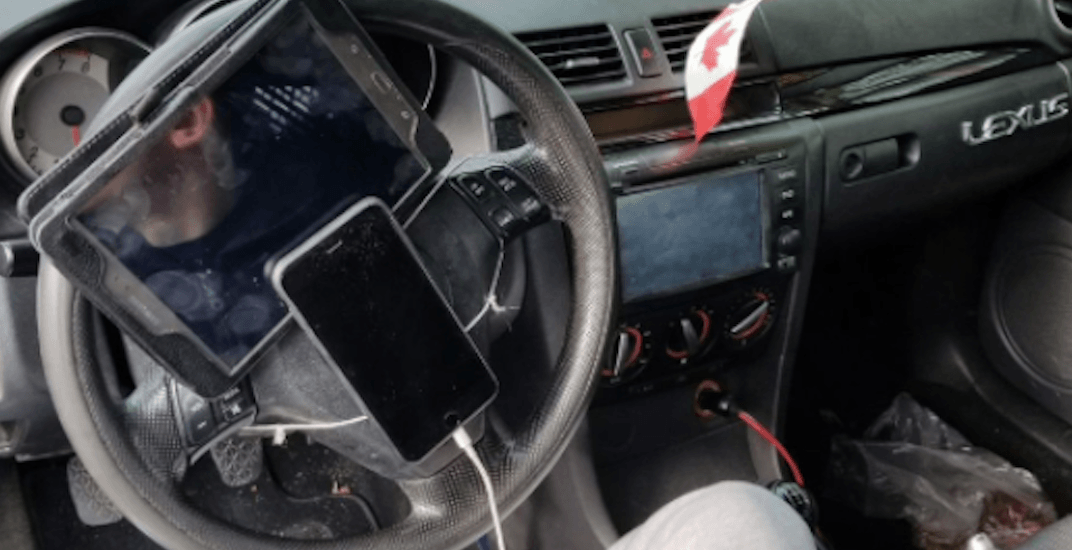 Driver who attached iPad and phone to steering wheel with string ticketed by VPD