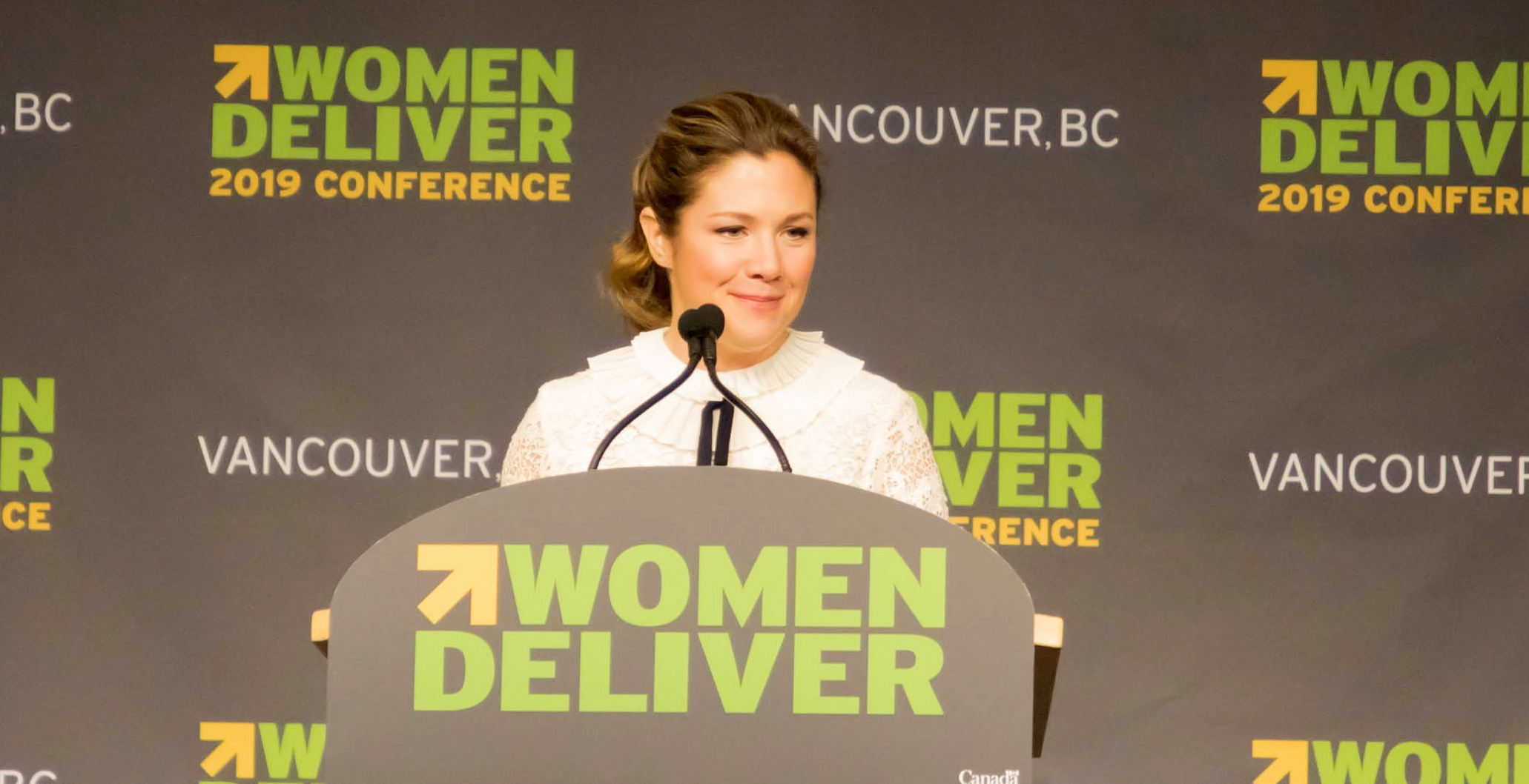 Sophie Grégoire Trudeau speaking about the Women Deliver 2019 conference (Jenni Sheppard/Daily Hive)