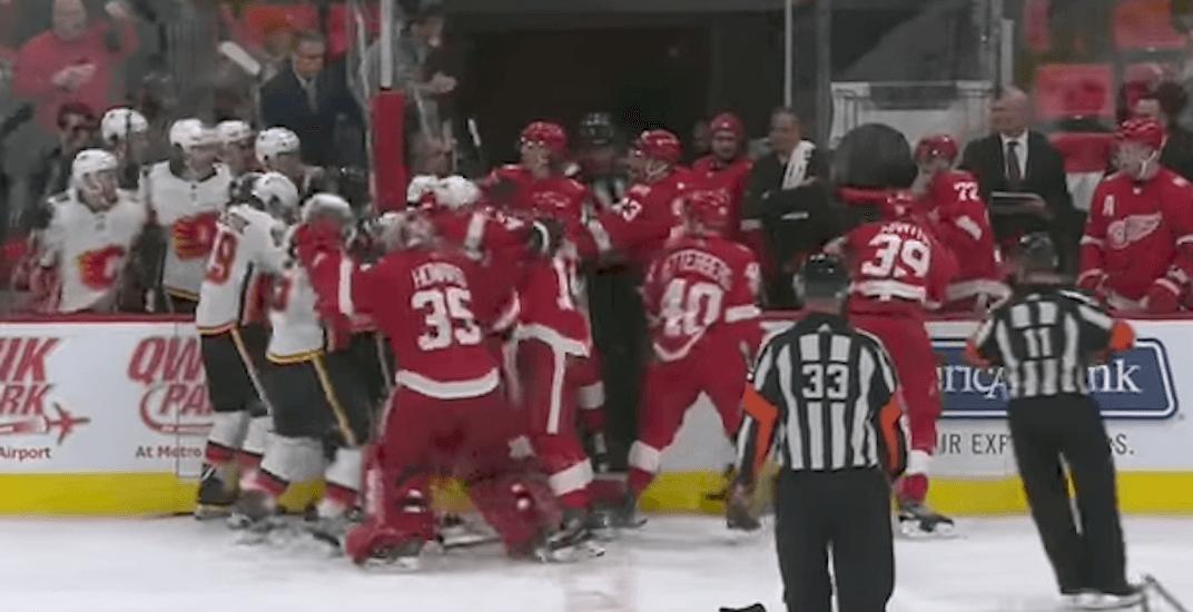 Flames red wings brawl