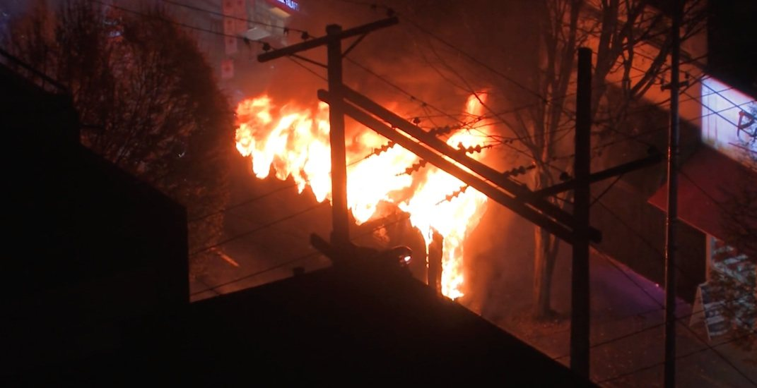 Party bus bursts into flames on Granville Street in downtown Vancouver (VIDEOS)