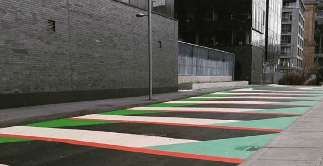 There is a new colourful walkway near Champ-de-Mars metro station