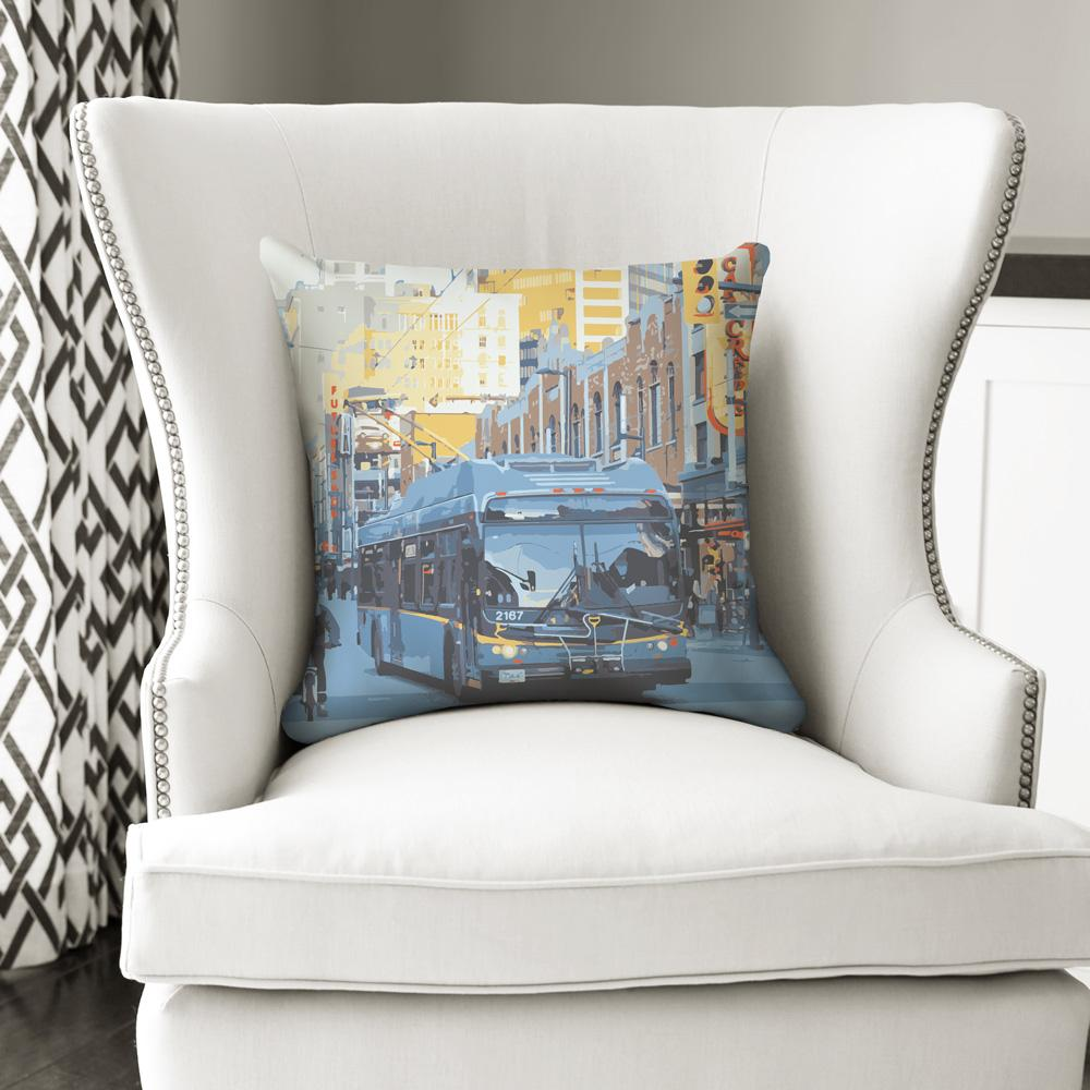 Bus art throw pillow (TransLink)