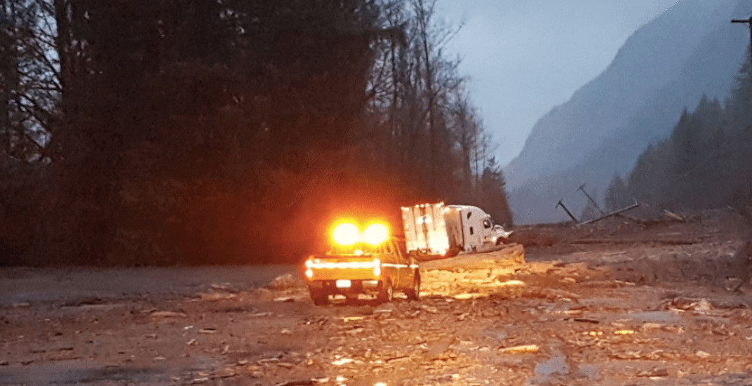 Mudslides close Highway 1 in both directions near Hope