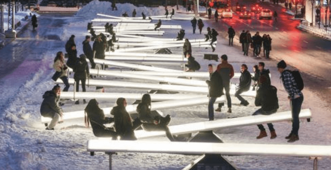 Place Des Festivals is turning into a light-up winter playground this week