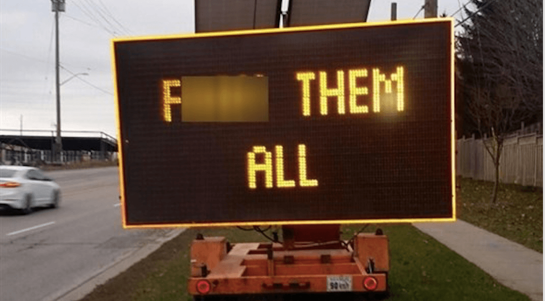 Hacked electronic road sign displayed profanity to drivers in Ontario town
