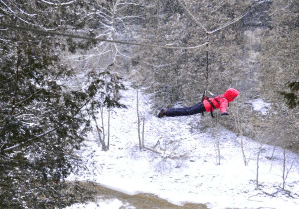 winter ziplining