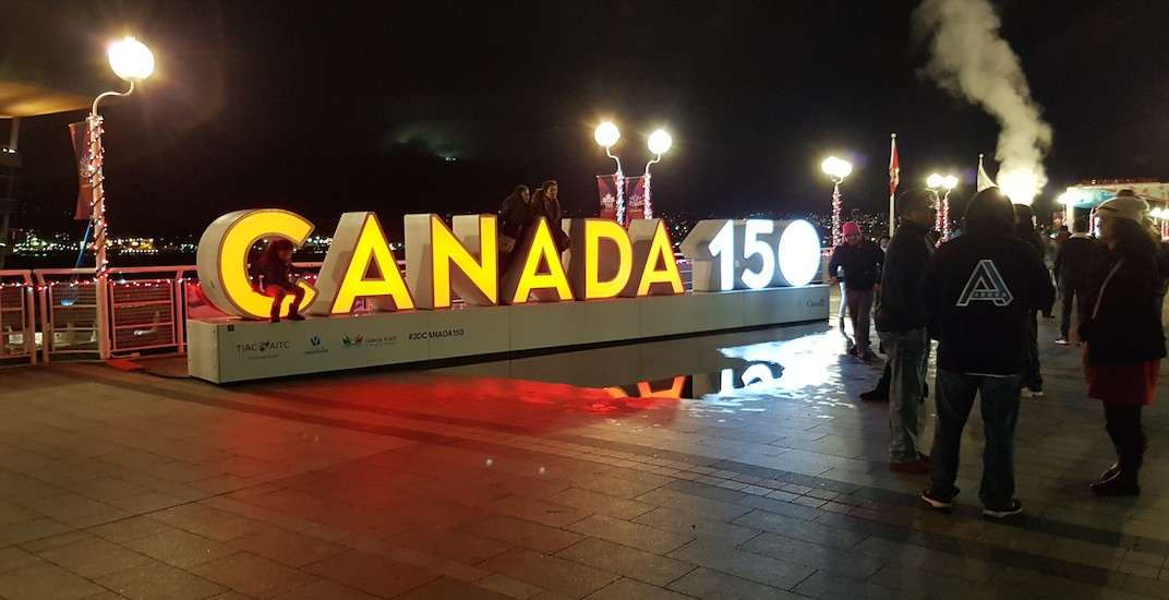 Canada 150 sign vancouver canada place