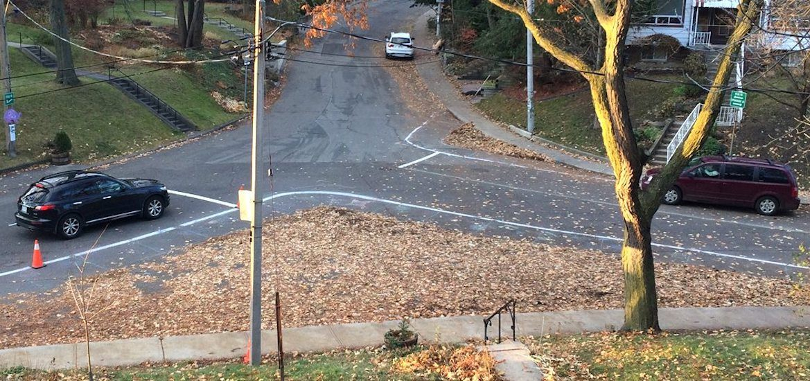 Local resident helps manage dangerous intersection in Toronto using leaves