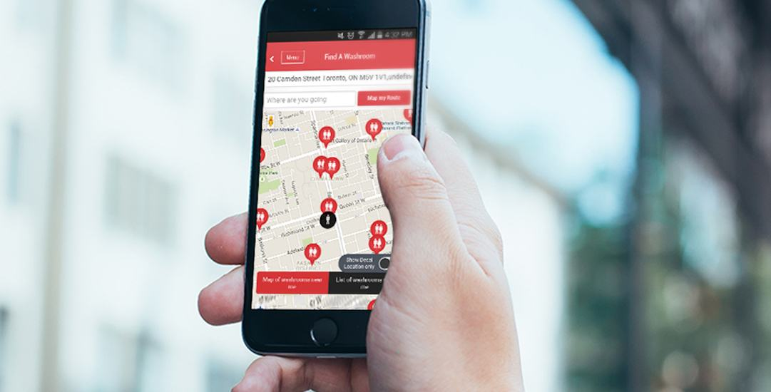This app will show where to find the nearest public washroom anywhere in Canada
