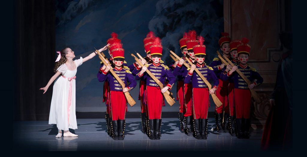 Clara and the soldiers in The Nutcracker (Goh Ballet)
