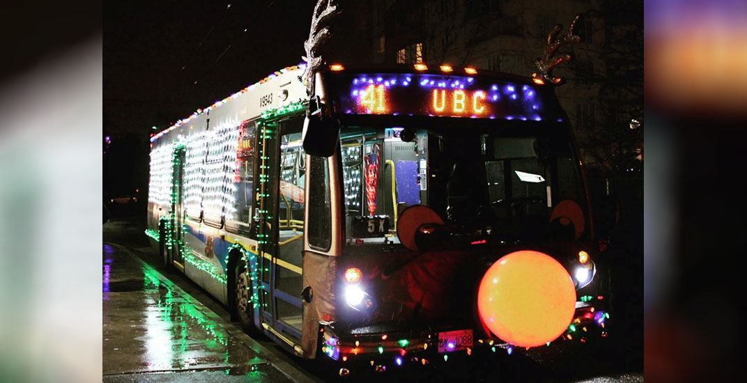 Rudolph the red-nosed bus: TransLink bus decked out with Christmas lights (PHOTOS)
