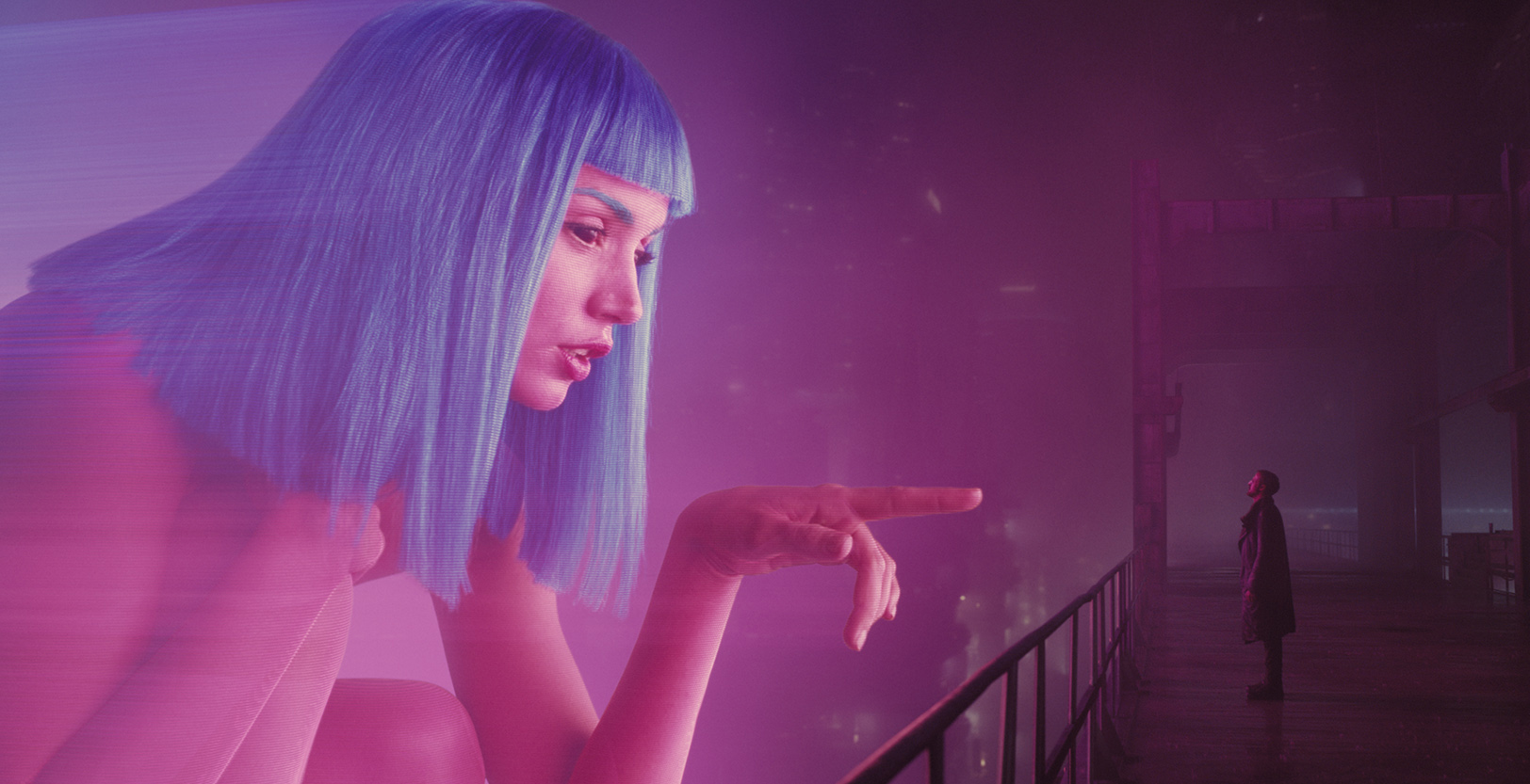A joi hologram advertisement interacts with k in blade runner 2049 feature