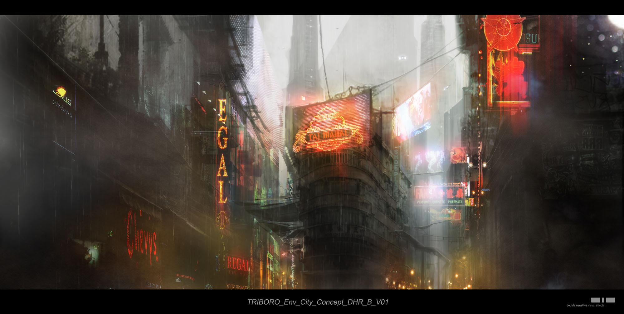 DNEG concept for the city environment in Blade Runner 2049 ((©2017 ALCON ENTERTAINMENT, LLC., WARNER BROS. ENTERTAINMENT INC. AND COLUMBIA TRISTAR MARKETING GROUP, INC. ALL RIGHTS RESERVED.)