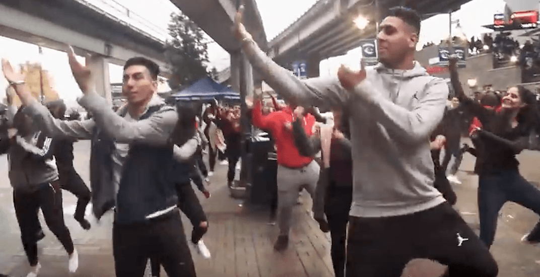 100+ students perform Bhangra flash mob before Canucks game (VIDEO)