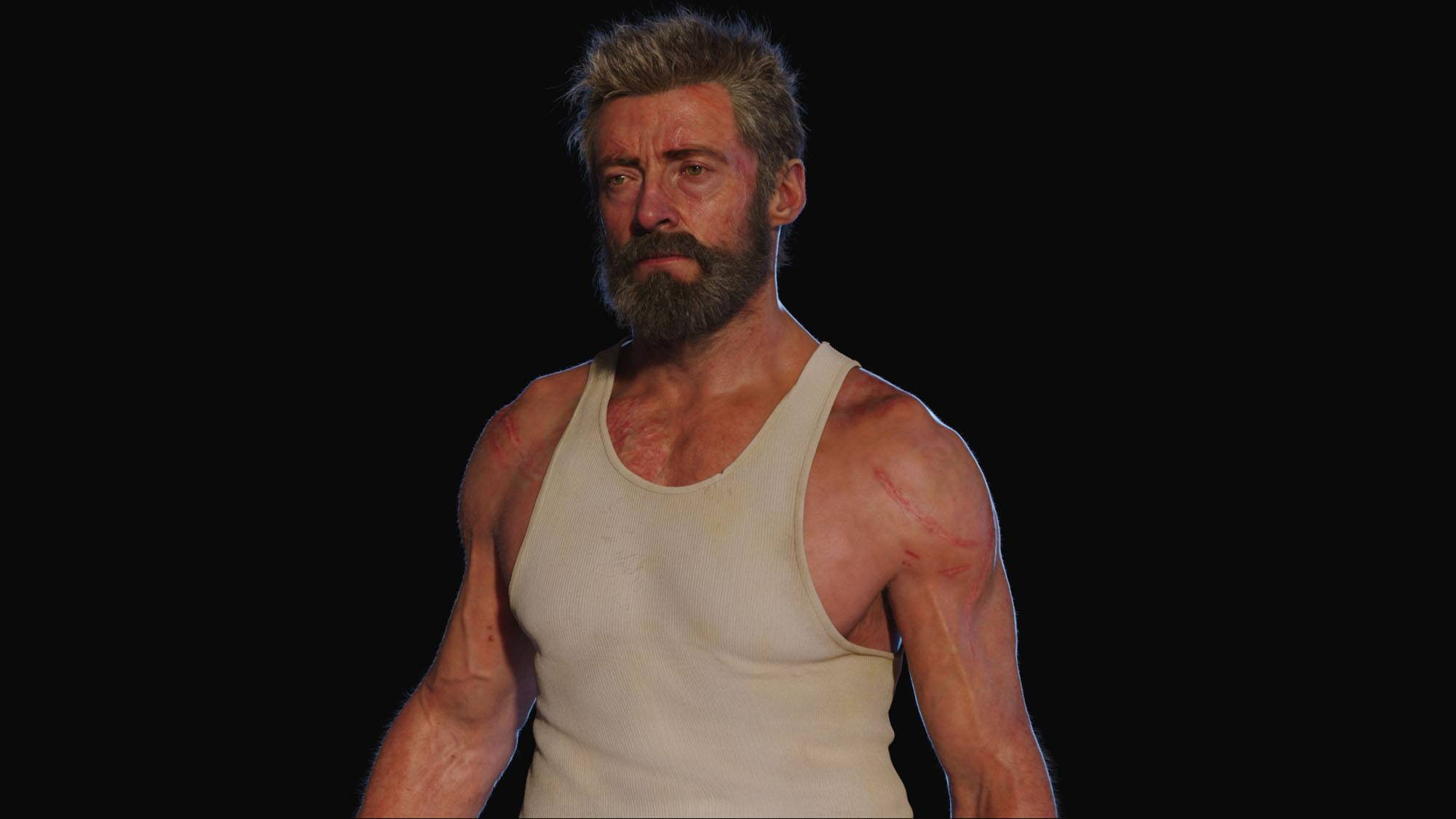 The digital double of Hugh Jackman (© 2017 Marvel. TM and © 2017 Twentieth Century Fox Film Corporation. All rights reserved. Not for sale or duplication.)