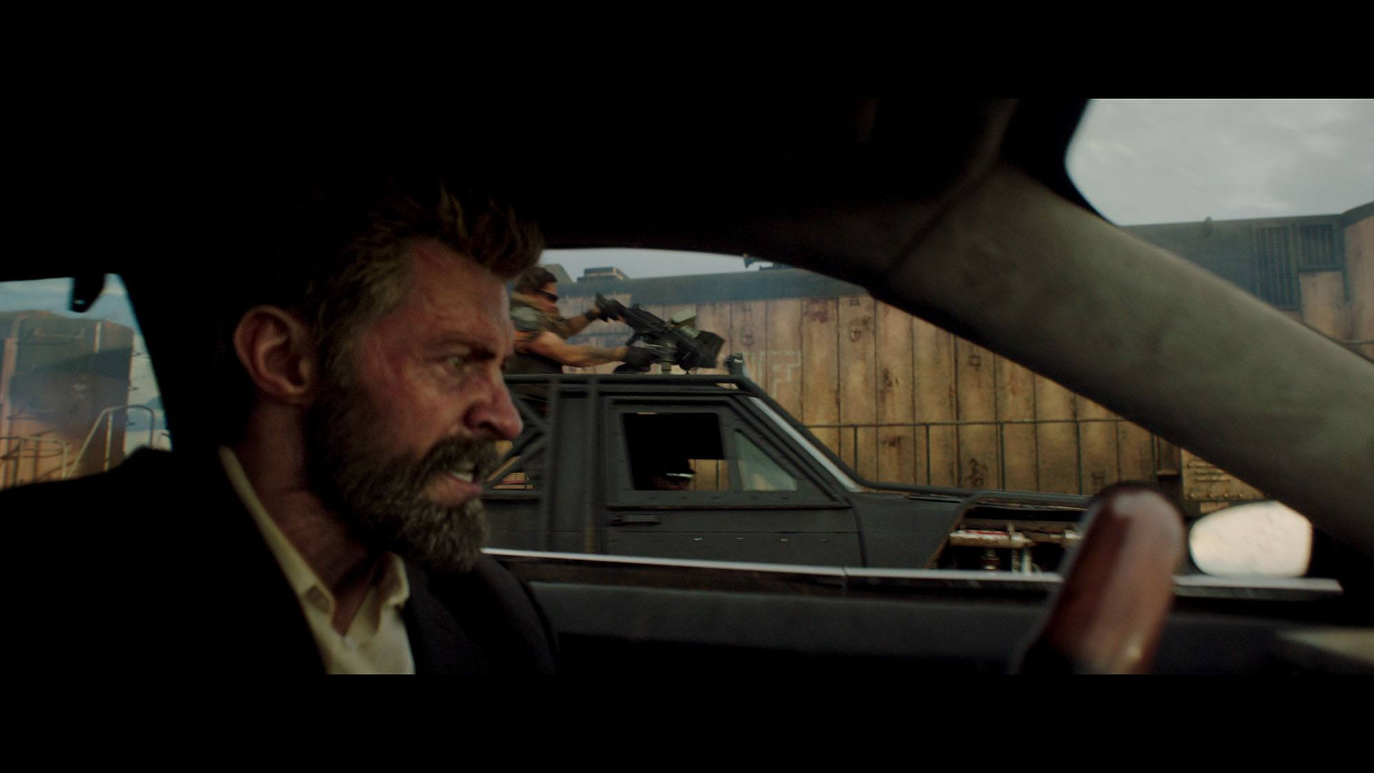 Final shot of Hugh Jackman's digital head and the stunt man's body in Logan (© 2017 Marvel. TM and © 2017 Twentieth Century Fox Film Corporation. All rights reserved. Not for sale or duplication.)