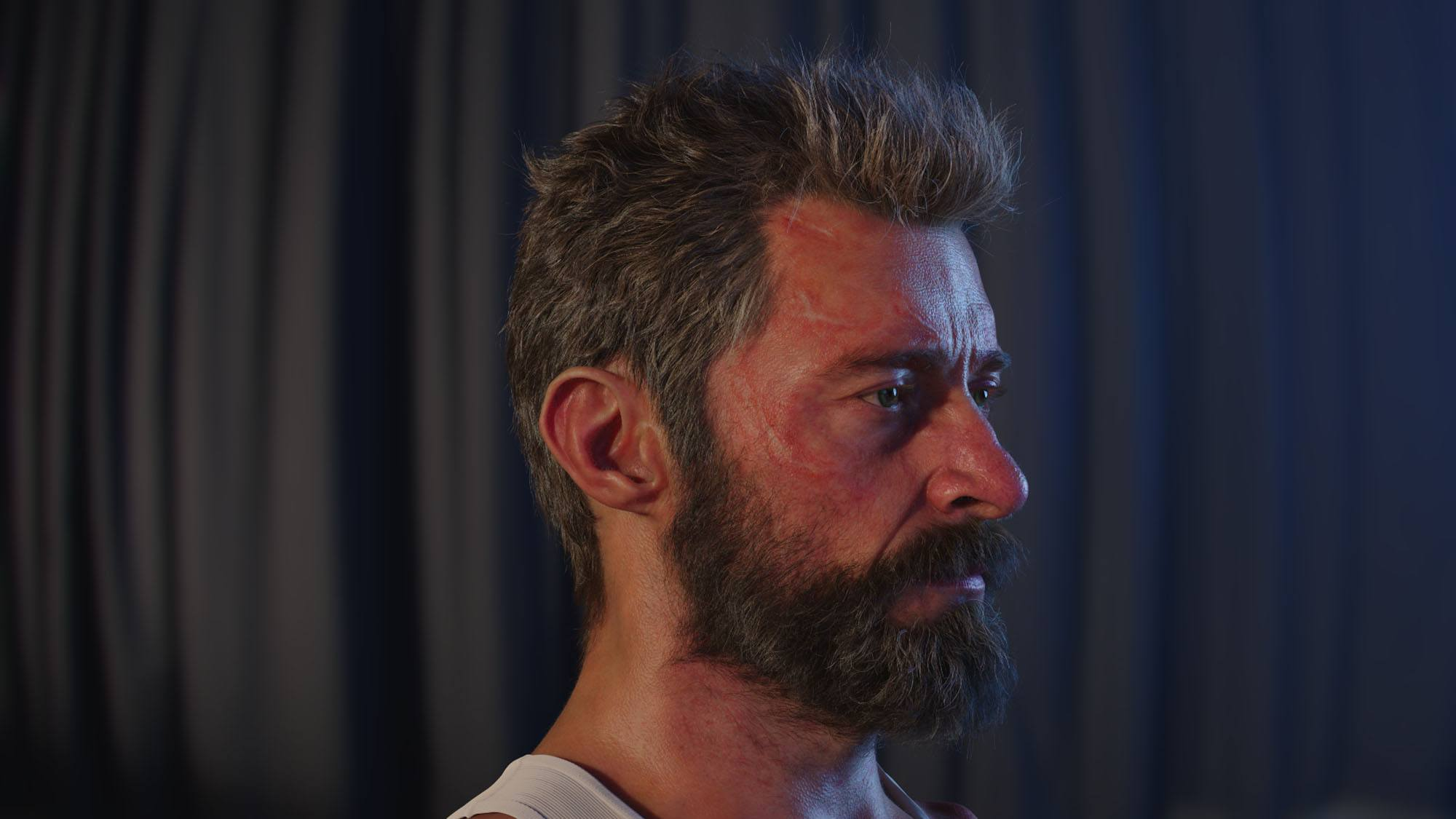 The digital double of Hugh Jackman's head (© 2017 Marvel. TM and © 2017 Twentieth Century Fox Film Corporation. All rights reserved. Not for sale or duplication.)