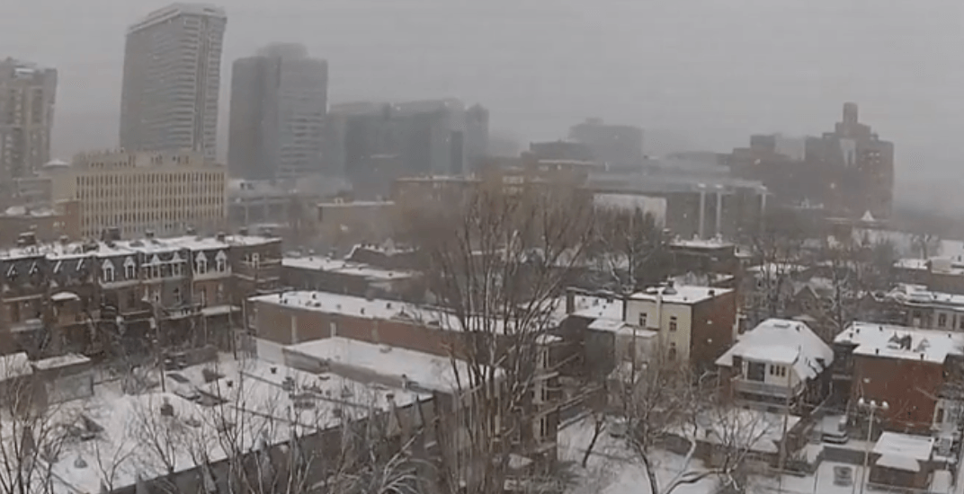 Drone captures amazing footage of Montreal during snowstorm (VIDEO)
