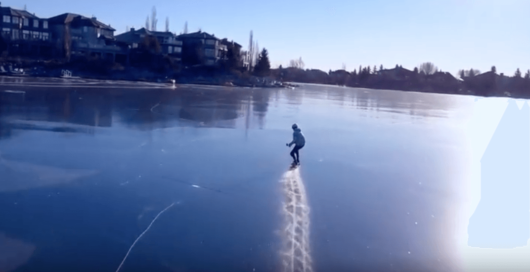 Canadian man skateboards across frozen lake and it looks incredible (VIDEO)
