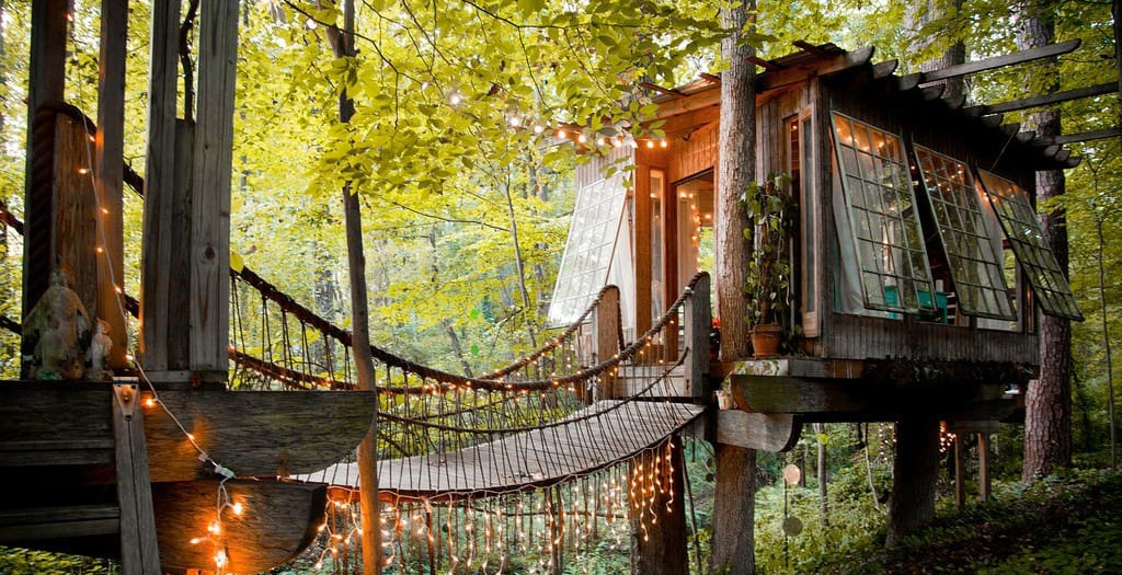 Secluded intown treehouse in atlanta with lights airbnb