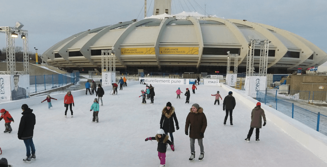 You can skate on a giant ice trail at Montreal's Olympic Park