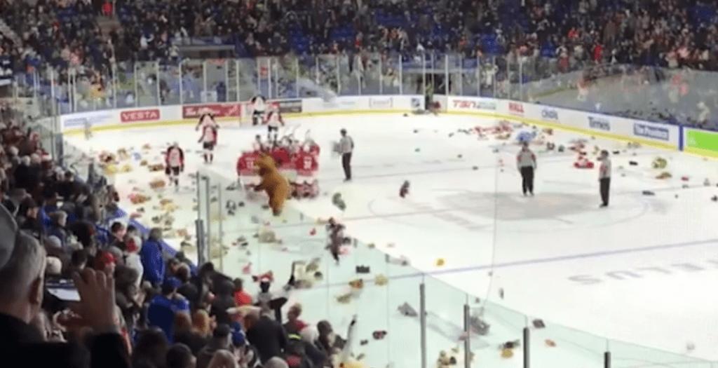 vancouver giants teddy bear toss