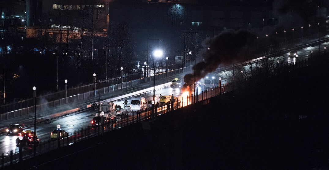 Burrard Bridge closed in both directions after fiery crash overnight