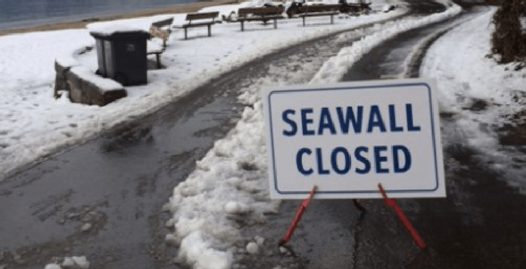 The Stanley Park Seawall is currently closed due to snow and ice