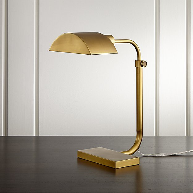 Theorem Aged Brass Desk Lamp/ Crate and Barrel