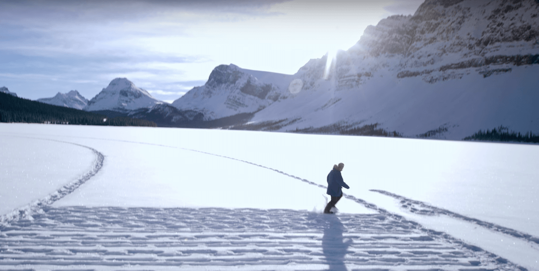 This guy created a giant snowshoe art piece in the middle of the Alberta Rockies (VIDEO)