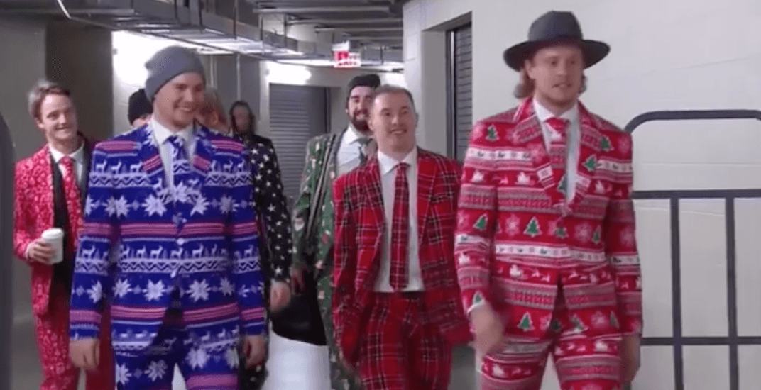 Canadiens players show up to game in outrageous Christmas suits (VIDEO)