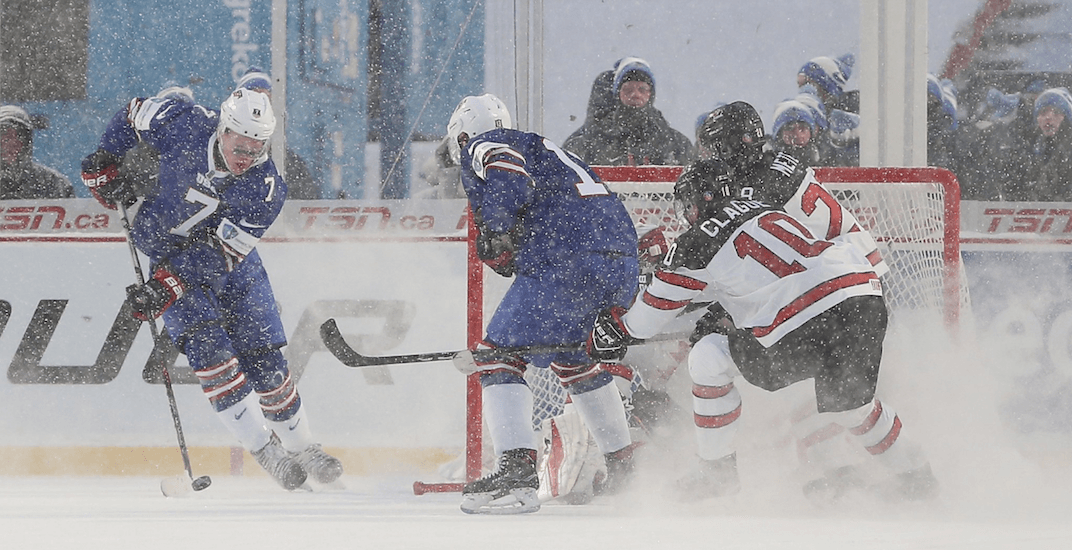 Canada and USA play an outdoor snowy classic at World Juniors