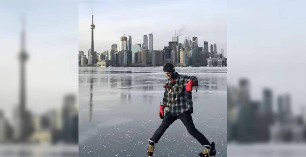 Ice skating on Toronto Harbour looks absolutely magical (VIDEO)