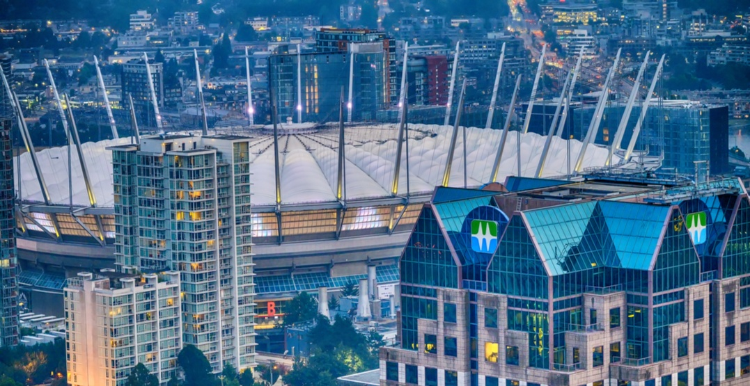 Vancouver skyline bc place and bc hydro