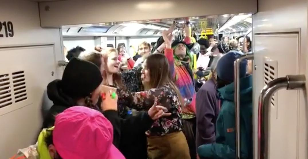 The SkyTrain turned into a huge New Year's Eve dance party (VIDEOS)