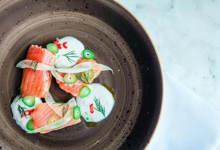 Ufficio winterlicious TROUT CRUDO-Ontario trout conserva with horseradish yogurt, fennel, dill and pickled chilli