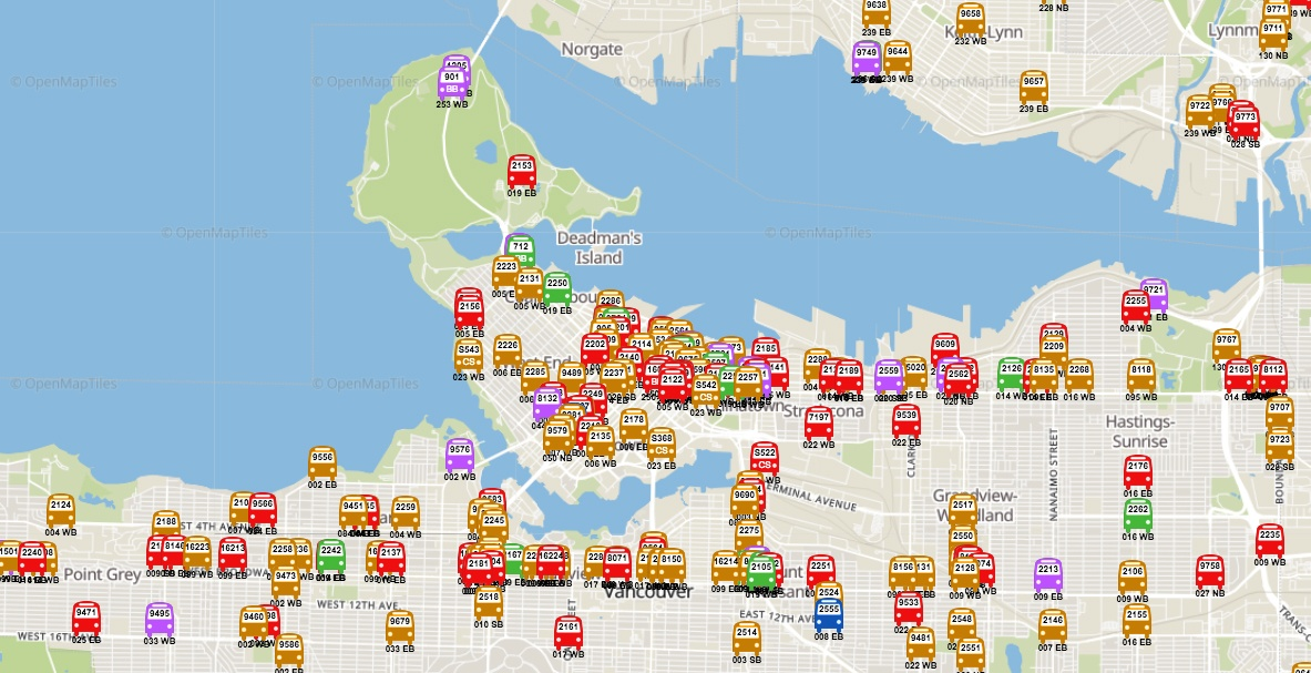 This map will tell you where every public transit bus in Metro Vancouver is