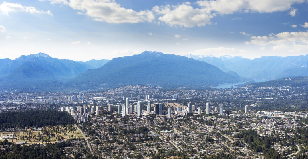 Burnaby skyline aerial mountains
