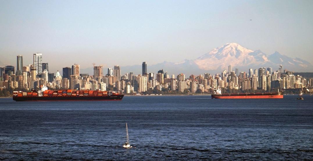 Vancouver skyline ocean tankers