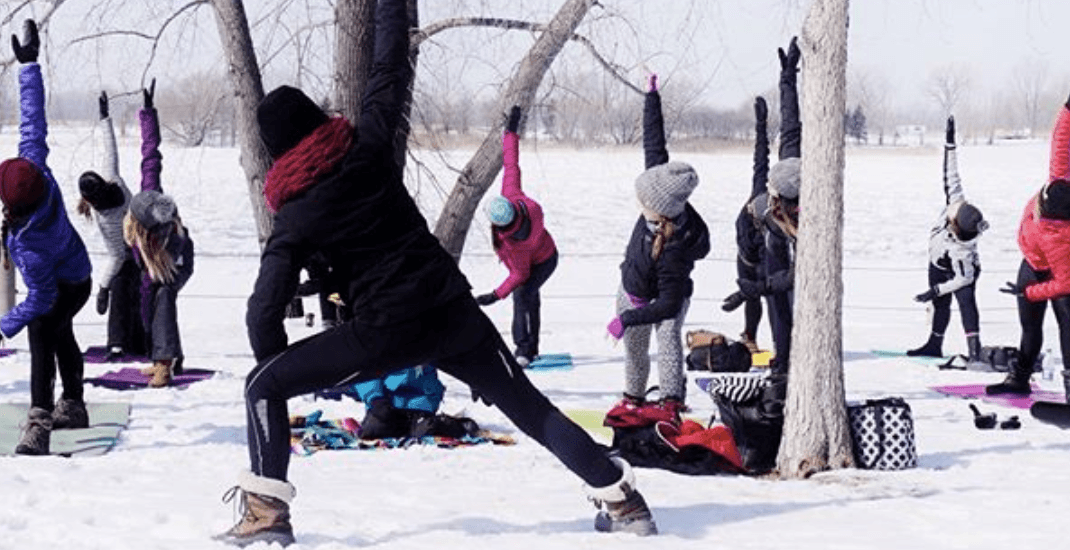 You can take FREE snow yoga classes in Montreal this winter