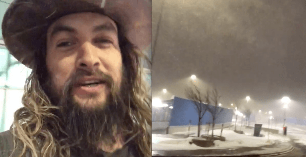 Jason Momoa arrives in Canada without a coat, promptly enters a blizzard (VIDEO)