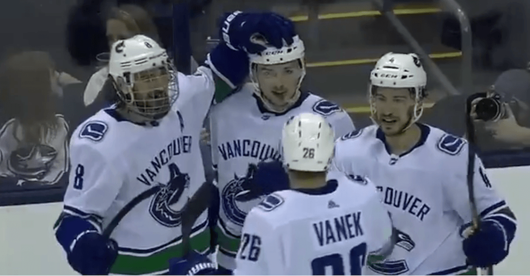 SixPack: Gaunce scores first-ever goal (with his stick) in rare Canucks win