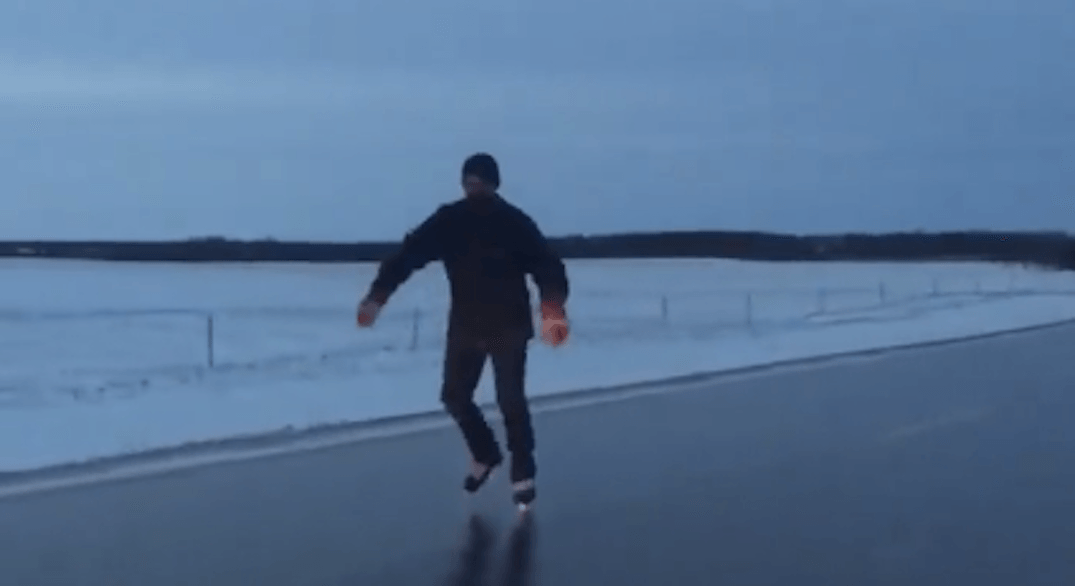 It's so cold in parts of Canada that people are skating on highways (VIDEO)