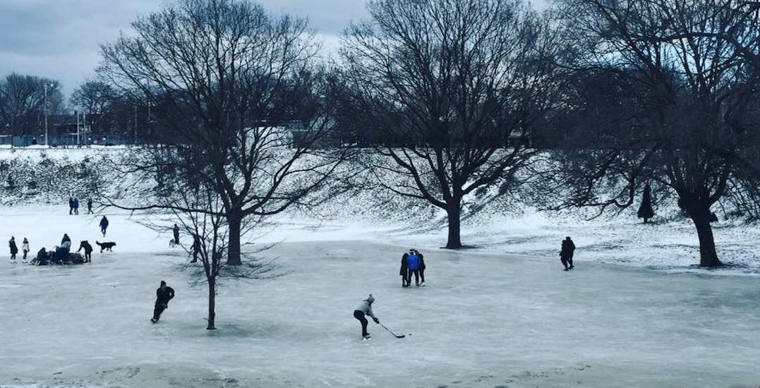 A natural ice rink formed in the dog bowl at Trinity Bellwoods Park (PHOTOS)