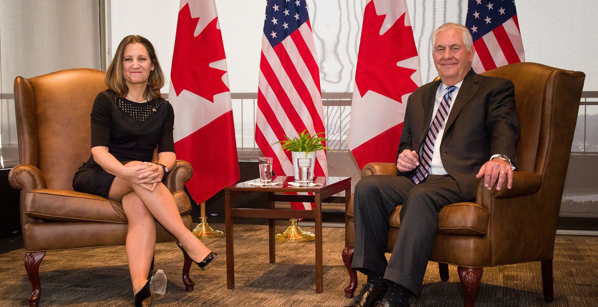 Chrystia freeland and rex tillerson meeting last year us government